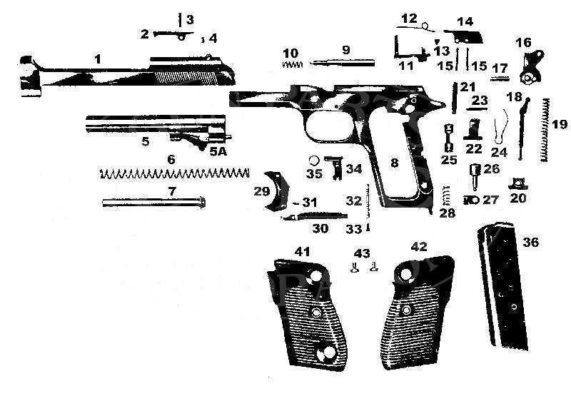 Schema parti pistola beretta 51