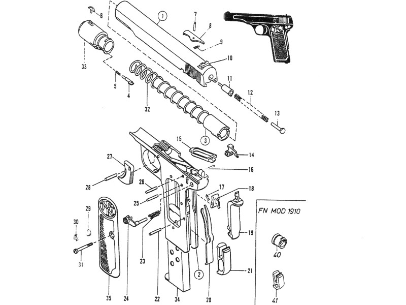 Schema pistola Browning / FN 1910-22